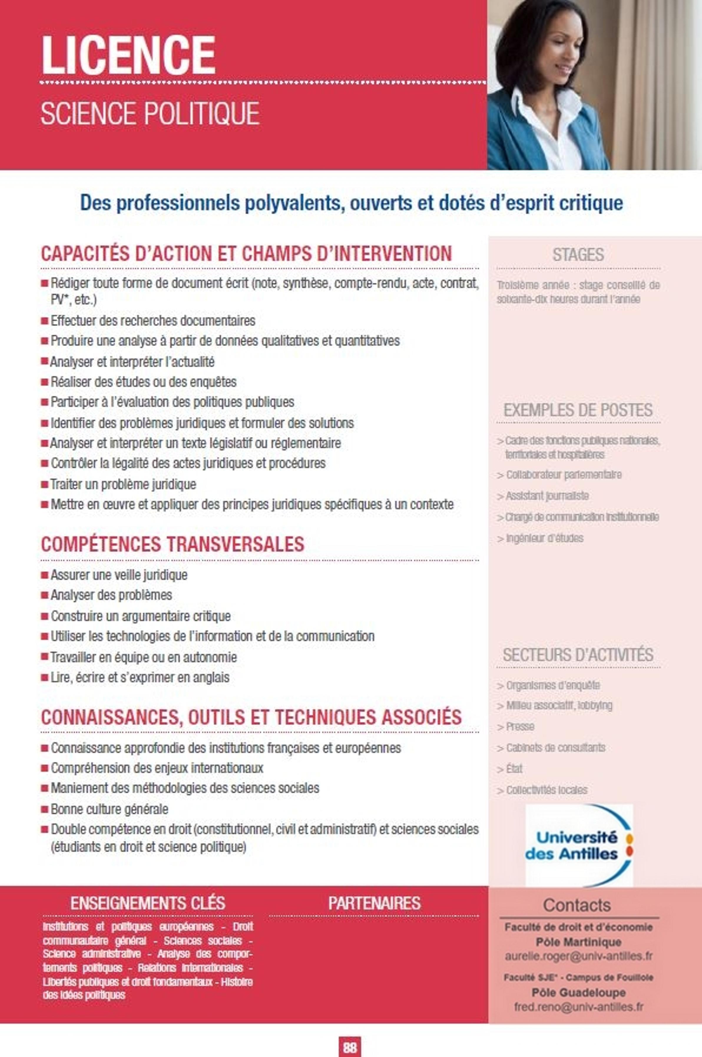Licence Science Politique Martinique L Offre De Formation